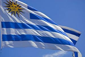 Uruguay Flagge Nahaufnahme