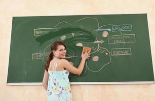 lächelndes Mädchen, das Diagramm von Tafel mit nassem Schwamm abwischt foto
