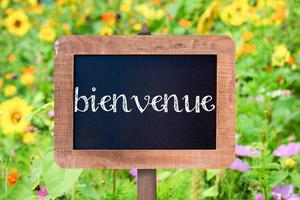 Bienvenue (bedeutet Willkommen) geschrieben auf einer Vintage Holzrahmen Tafel, foto