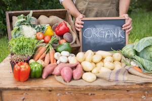 Landwirt, der Bio-Gemüse auf dem Markt verkauft foto