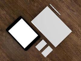 Buch, Tablet, Visitenkarten foto