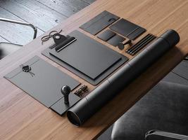 Satz Vintage Blanc Elemente auf dem Tisch. 3d rendern foto
