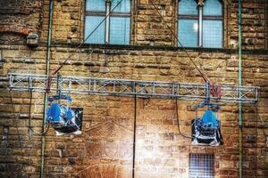 Filmscheinwerfer im Palazzo Vecchio in Florenz