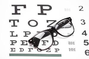 Brille auf einer Sehtafel foto