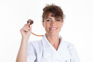 Nahaufnahmeporträt der Frau, des medizinischen Fachpersonals foto
