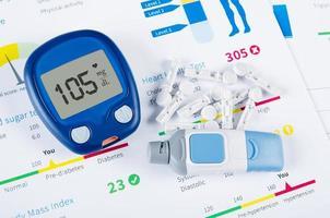 Diabetiker-Testkit auf medizinischem Hintergrund foto