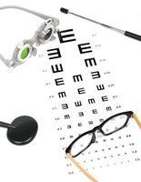Optiker Diagramm und Brille foto