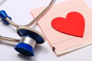 Stethoskop, Elektrokardiogramm-Diagrammbericht und Herzform foto