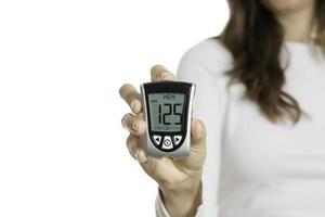 Hand hält ein Glukometer