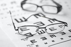 Brille und Sehtafel foto