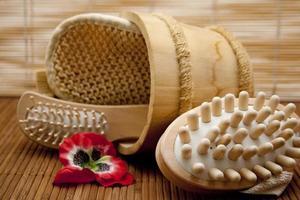 Haar- und Massagebürste mit Schwamm foto