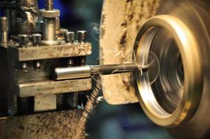 Drehmaschine in einer Werkstatt, Teil der Drehmaschine.