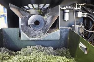 Schnecken- und Metallspäne von Drehmaschine