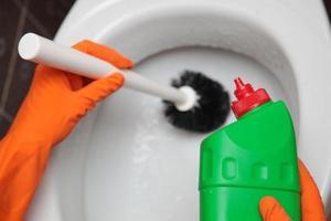 behandschuhte Hand, die Toilettenschüssel mit Bürste reinigt