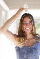 blonde Frau mit einer Glühbirne über dem Kopf foto