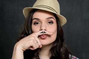 Frau mit Vintage Schnurrbart foto