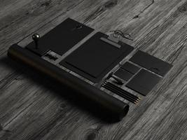 Satz schwarzer Modellelemente auf dem Holz. 3d rendern foto