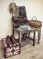 Vintage männliche Kleidung und Accessoires foto