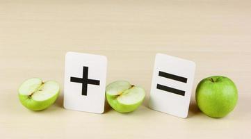 Schulkarte und Apfel mit mathematischen Problemen foto