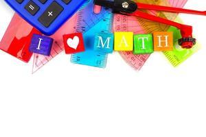 Ich Herz Mathe Spielzeugblöcke mit Schulmaterial Grenze foto