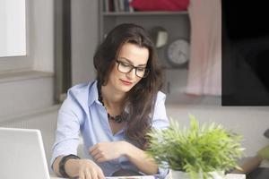 junge schöne Geschäftsfrau, die zu Hause arbeitet