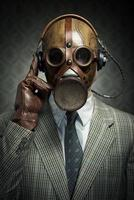 Vintage Gasmaske und Kopfhörer