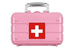 Erste-Hilfe-Kasten auf weiß isoliert. foto