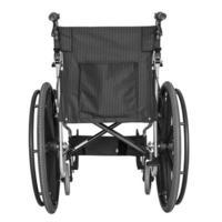 schwarzer Rollstuhl auf weißem Hintergrund foto
