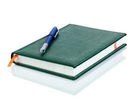 Ledernotizbuch und Stift foto