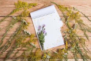 Notizblock und Heilkräuter auf Holztisch - Alternativmedizin foto