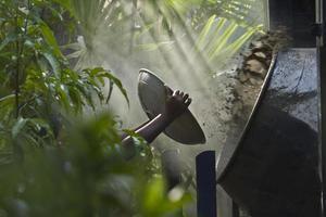 Zement mitten im Dschungel vorbereiten foto