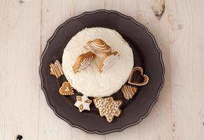 weißer Weihnachtskuchen foto