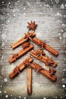 Tannenbaum aus Gewürzen Zimtstangen, Anisstern zu Weihnachten