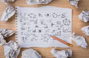 Geschäftskonzept und Grafikzeichnung foto