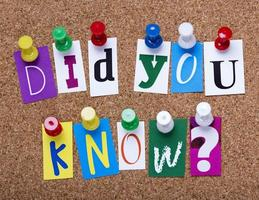 Wussten Sie, dass Wörter an einem schwarzen Brett aus Kork befestigt sind?