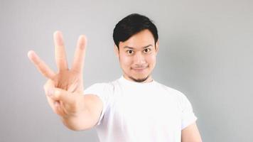 Drei-Hand-Zeichen. foto