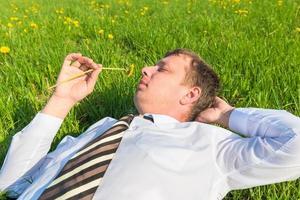 Geschäftsmann, der auf dem Gras liegt und Löwenzahn schnüffelt