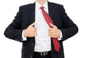 junger Geschäftsmann, der Frustration isoliert ausdrückt foto