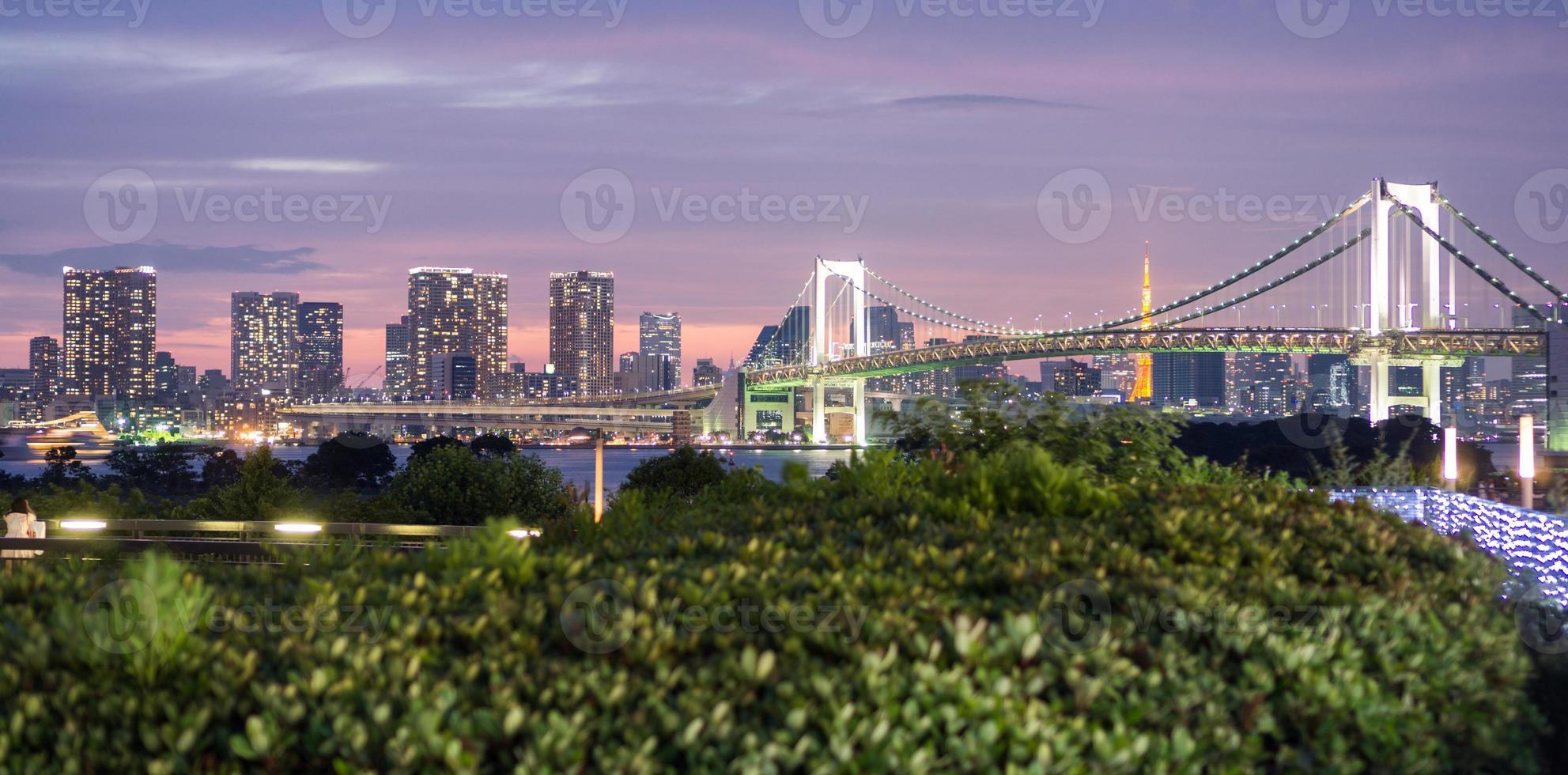 panoramautsikt över regnbågens bro och tokyo skyline från odaiba, nattutsikt foto