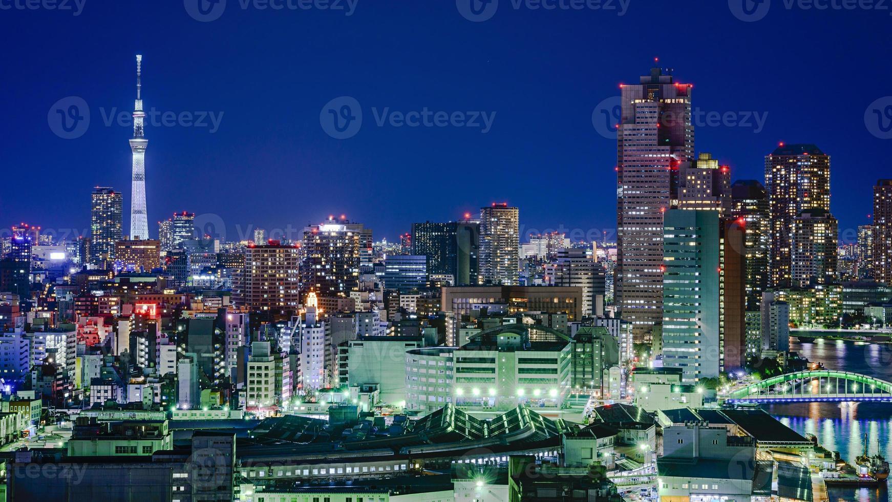 tokyo japan stadshorisont foto