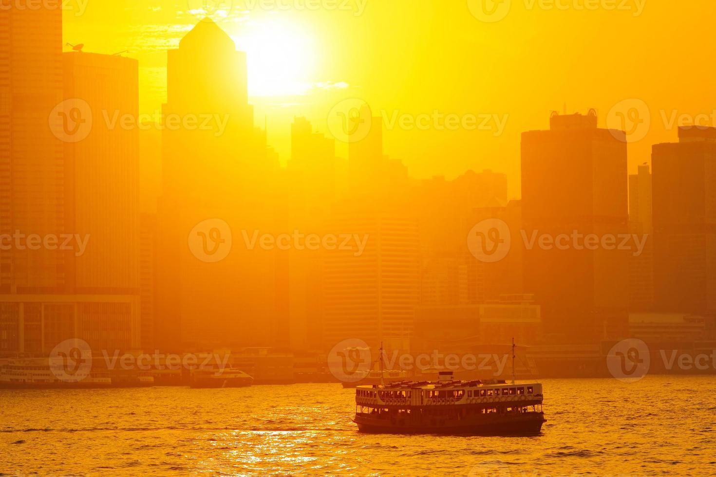vacker hongkong stadsbild vid solnedgången (Hong Kong) foto