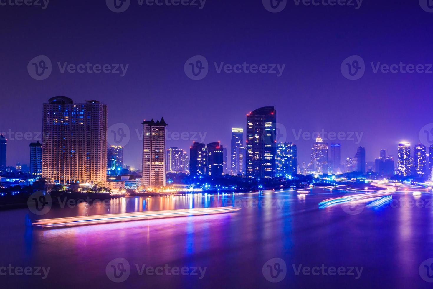 bangkok stad på natten, Thailand foto