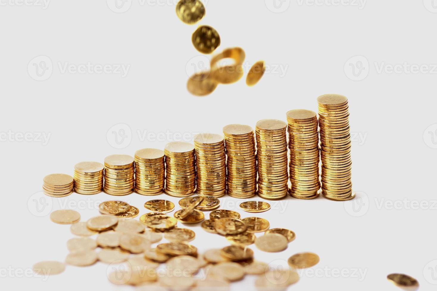 regn från gyllene mynt foto
