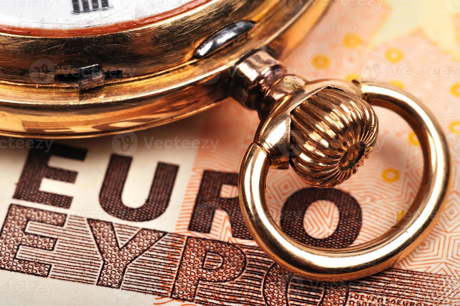 klocka och euro foto