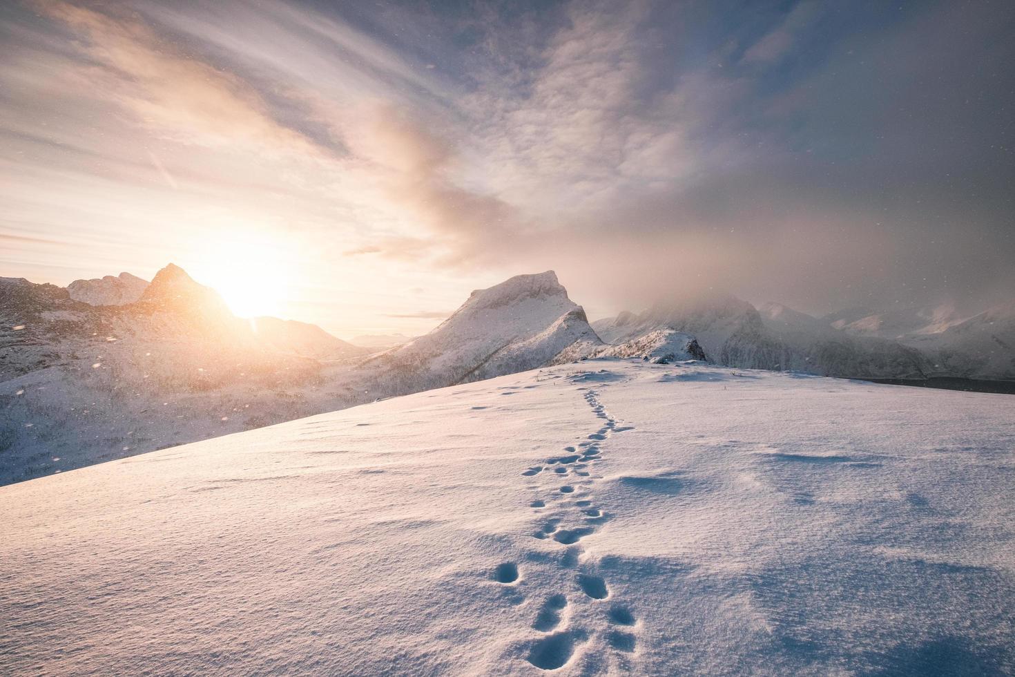 snöiga fotavtryck på bergskanten foto