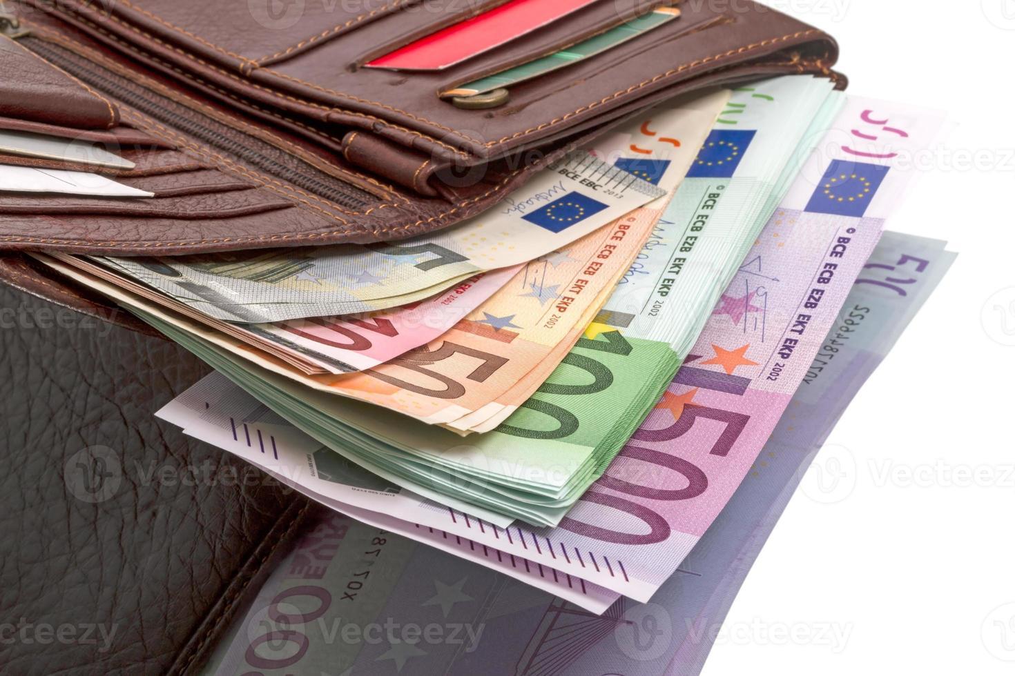 handväska med eurosedlar foto