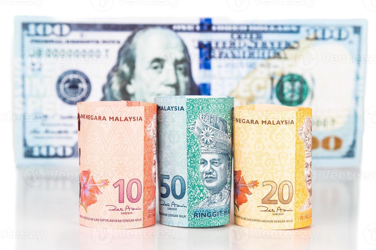 närbild av malaysia ringgit valuta sedel mot oss dollar foto