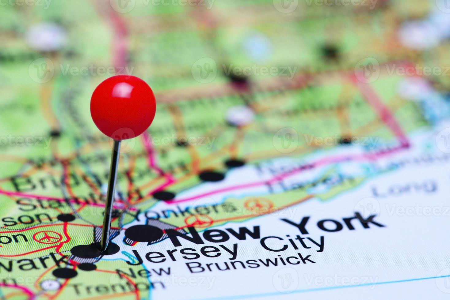 jersey city fästs på en karta över usa foto