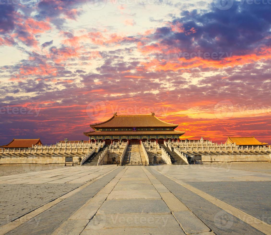 förbjuden stad i solnedgången, Œ i Peking Kina foto