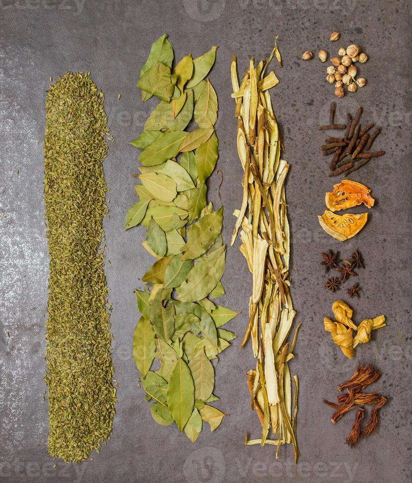 många kryddor och örter för hälsobakgrund. foto